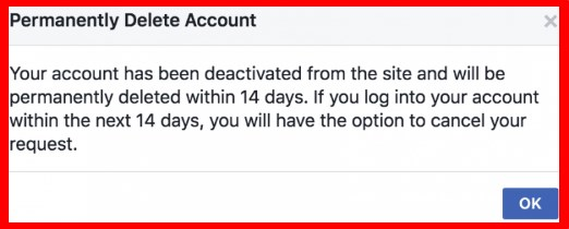 facebook account delete option link