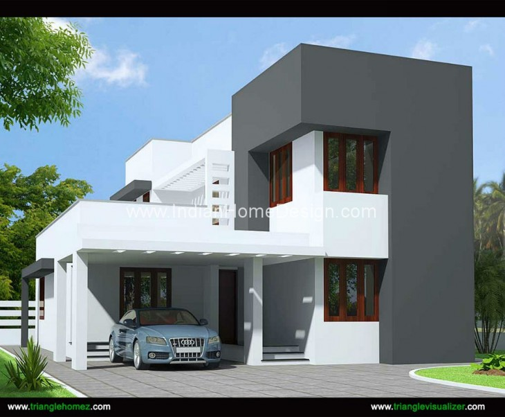 1600 sqft 3 bhk budget house design from triangle for Home design visualizer