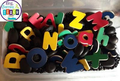 Beg, Borrow, and Teach!: Alphabet sensory box.