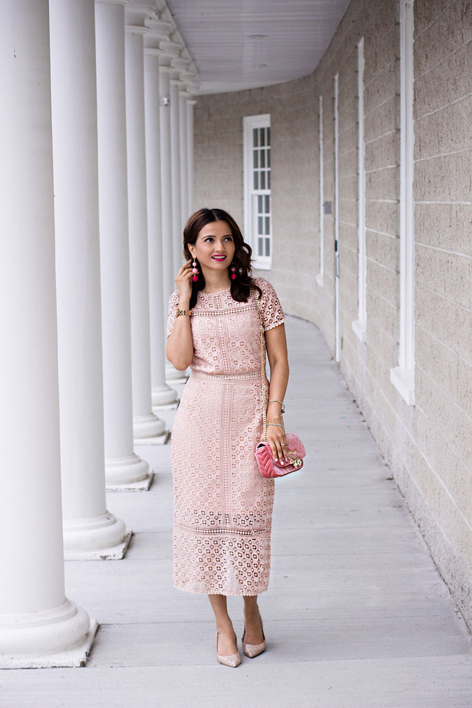 Blush Pink Lace Midi Dress Blogger Outfit Pink Velvet Bag Ball Earrings
