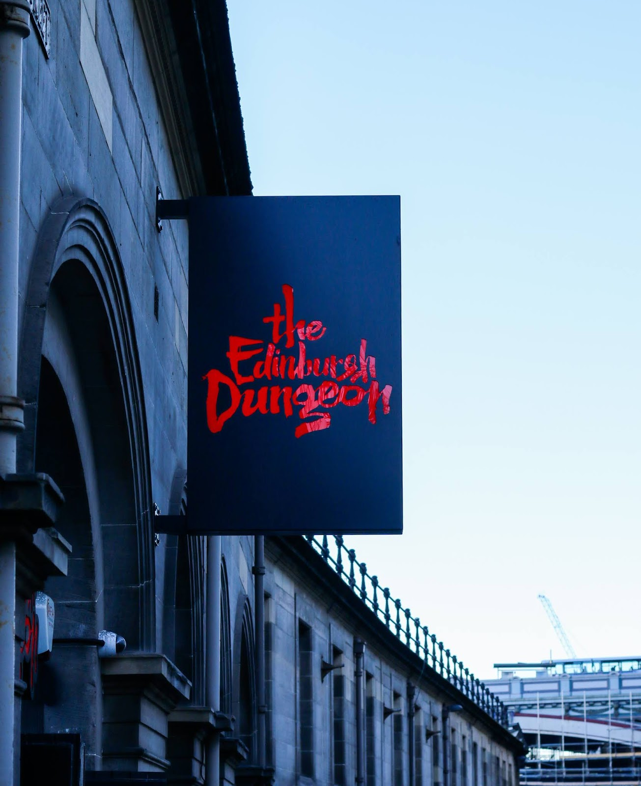 a close up of the Edinburgh dungeons sigh