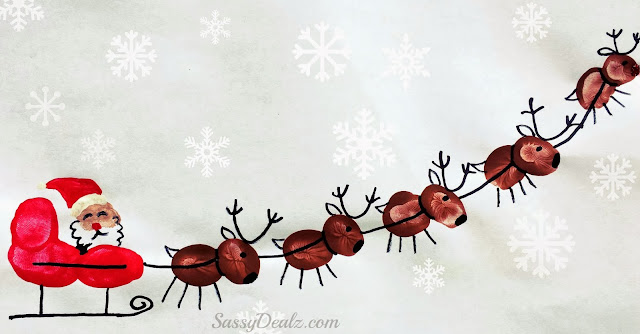 santas sleigh reindeer fingerprint craft