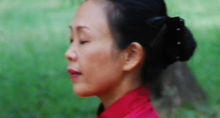 Chinesin in roter Kleidung vor grünem Hintergrund