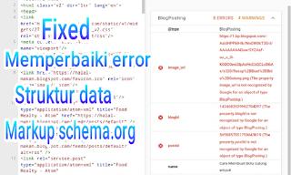 Cara memperbaiki kesalahan data terstruktur pada blog untuk seo lengkap dan fixed
