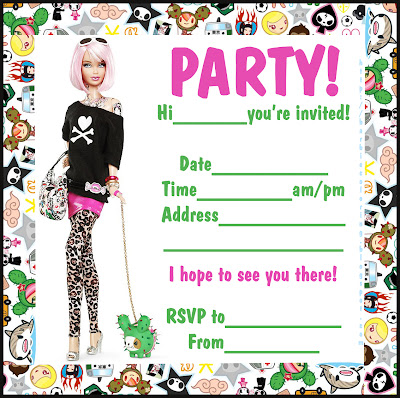 Barbie Coloring Pages Tokidoki Style Barbie Invitation To