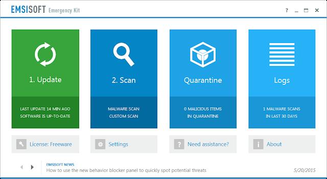 Emsisoft Emergency Kit: Αφαιρέστε του ιούς που μόλυναν τον υπολογιστή σας