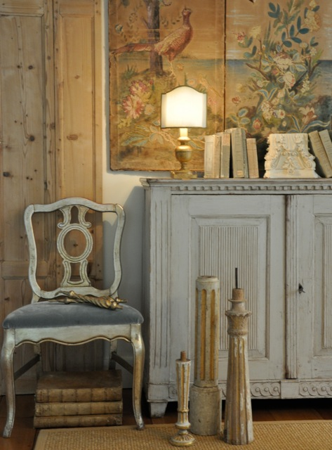 Antique Swedish painted cabinet, chair, and candlesticks with patina from Giannetti Home