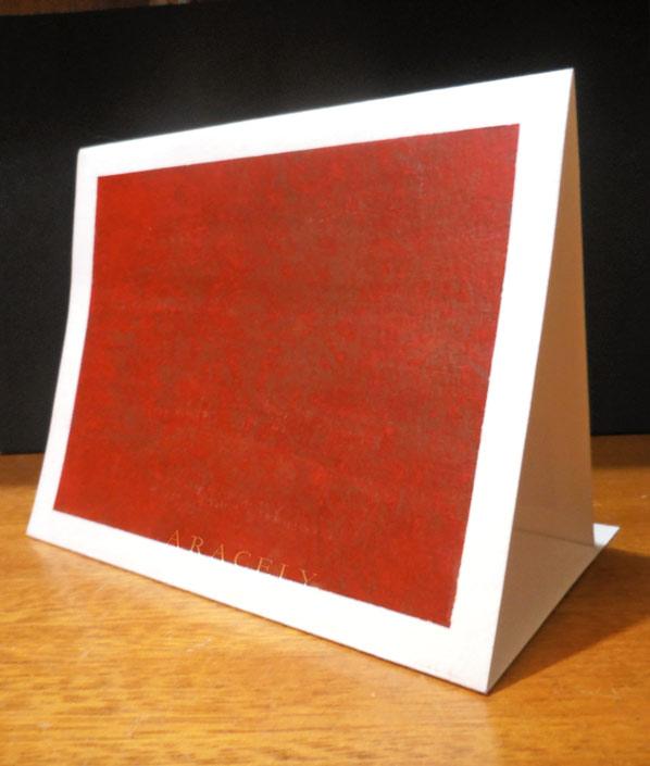 tarjeta rojo beige repujado