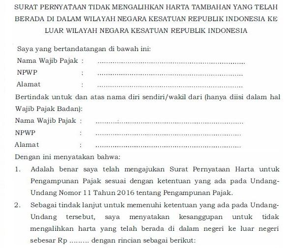 Contoh Surat Pernyataan Tax Amnesty (Pengampunan Pajak ...