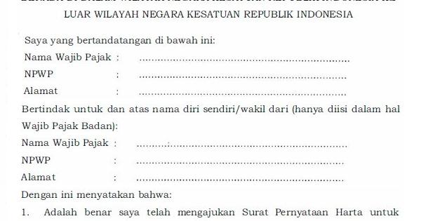 Contoh Surat Pernyataan Tax Amnesty Pengampunan Pajak