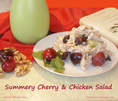 chicken salad with cherries, yogurt and walnuts photo by candy dorsey