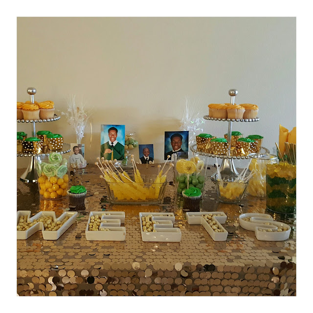 green and gold table decorations, eventsojudith, graduation party, sweets table, dessert table, gold sequin