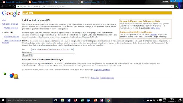 ADICIONAR URL DE BLOG