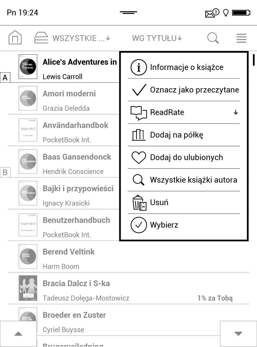 Menu kontekstowe e-booka w bibliotece czytnika PocketBook Touch HD 3