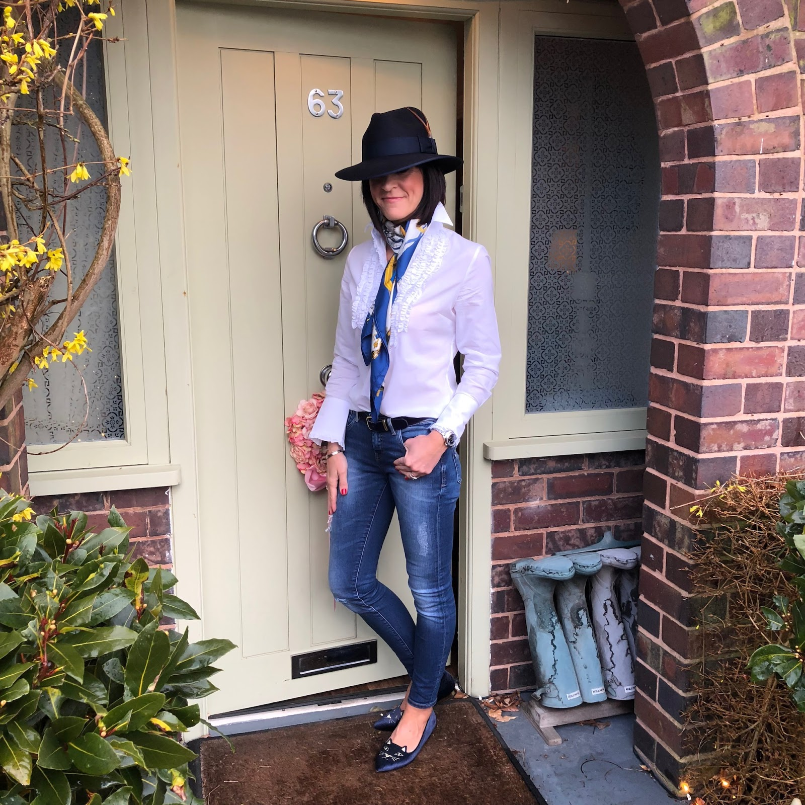 my midlife fashion, hawes and curtis madison felt fedora, hawes and curtis womens boutique white relaxed fit shirt with frill detailing, hermes silk scarf, j crew ponyskin leather belt, zara distressed skinny jeans, charlotte olympia kitty pointed flat shoes