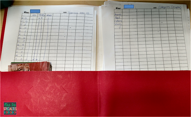 photo of inside of the folder that holds the data sheets in the work center box