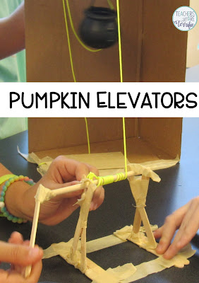 STEM Challenge: Create an elevator for a Haunted House. It must have a cranking device and hold the weight of a pumpkin!