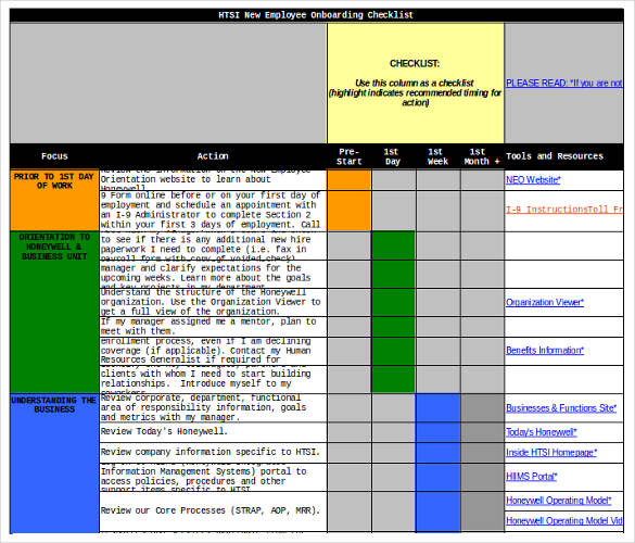 Employee Checklist Excel Template.
