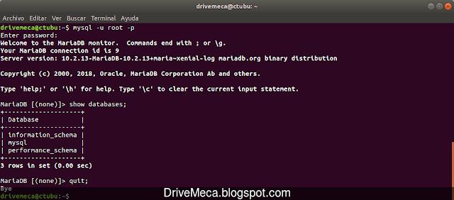 MariaDB para Ubuntu Xenial LTS ejecutandose correctamente