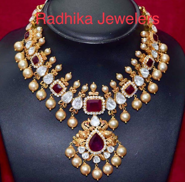 Large Stone Pachi Work Necklace by Radhika Jewelers