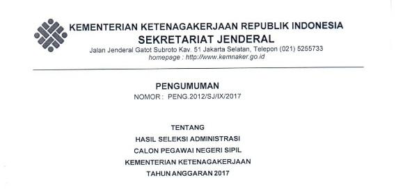 Informasi CPNS Download Hasil Seleksi Kelulusan CPNS Kementerian Ketenagakerjaan dan Begini Prosedur Selanjutnya (Khusus Yang Lolos)