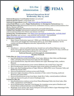 USFA Daily National Operations Brief Sample First Page