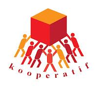 Kooperatifi simgeleyen bir küpü havada tutan insanlardan oluşan bir kooperatif logosu