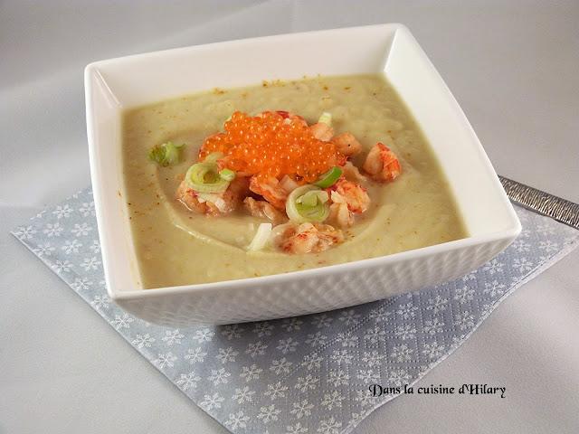 Velouté au céleri chic, écrevisses et oeufs de saumon - Dans la cuisine d'Hilary