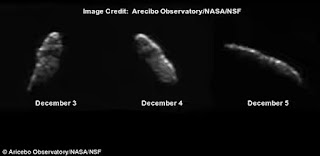 A 1.5 mile-wide asteroid is expected to make its closest approach to Earth on Christmas Eve.  Asteroid 2003 SD220, also known as asteroid 163899, will pass our planet from 6.7 million miles (11 million km) away – 28 times farther than the moon.  Despite its huge distance, reports have circulated the asteroid could cause earthquakes and trigger volcanoes on Earth.  But experts have dismissed these claims, saying that there is no scientific evidence to back up these theories.  Discovered back in 2003, asteroid 163899 will only be visible to people using a telescope.  It currently moving at a speed of 17.5 miles/second, and appears to take about one week to rotate fully week.  Nasa says the space rock will make a return to Earth in 2018, but it will pose no threat to our planet for at least 200 years.  If it were closer to Earth, a direct hit from such a huge asteroid could be enough to destroy a whole continent.  According to the Idea Girl Severe Storm Predictions Warnings website 2003 SD220 could have enough gravitational pull on Earth to trigger earthquakes or volcanoes.  But Eddie Irizarry writes at EarthSky: 'Those assertions are misleading and incorrect.  'Even if 2003 SD220 were passing closer, it's doubtful earthquakes would result.  'In fact, there's no scientific evidence that an asteroid's flyby can cause any seismic activity, unless it collides with Earth, but – in this case – that clearly will not be the case.'  Nasa has listed the asteroid as a 'potential human-accessible target' and astronomers will be tracking it over the coming weeks.  According to its Near-Earth Object Observations Program, which scans the skies for potential threats, there are no asteroids or comets that could impact the Earth anytime in the 'foreseeable future.  In fact, of all known potentially hazardous asteroids, there is a 0.01 per cent chance one of them will impact Earth in the next 100 years.  Of course, this does not mean there is not an unseen asteroid or comet hurtling towards Earth, but officials say anything big enough to cause the damage being predicted for September would have been seen by now.  In September, Paul Chodas, manager of Nasa's Near-Earth Object office at the Jet Propulsion Laboratory in Pasadena, said: 'There is no existing evidence that an asteroid or any other celestial object is on a trajectory that will impact Earth.  'In fact, not a single one of the known objects has any credible chance of hitting our planet over the next century.  Nasa tracks around 12,992 near-Earth objects which have been discovered orbiting within our solar system close to our own orbit.  It estimates around 1,607 are classified as Potentially Hazardous Asteroids.