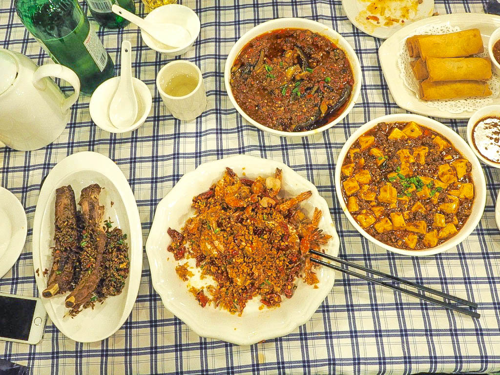 Crunchy prawns, cumin ribs, aubergine, mapo tofu
