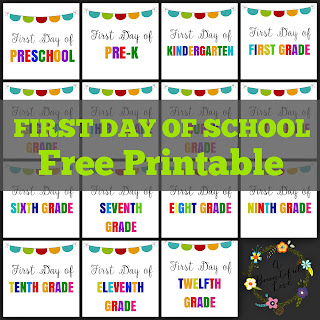 First Day of School Sign - Free Printables (Preschool to 12th grade)