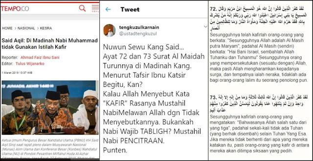 Nabi Tidak Pakai Istilah Kafir di Madinah? Ustadz Tengku Sodorkan Ayat Ini ke Said Aqil