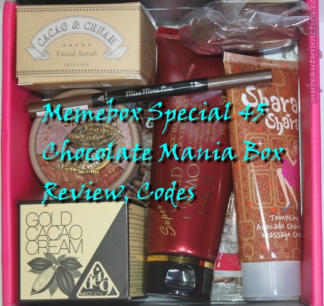 Memebox Special 45 Chocolate Mania beauty box review, codes