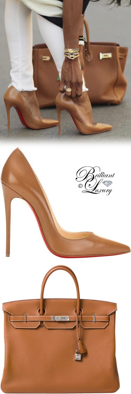 Brilliant Luxury ♦ Hermès Birkin bag and Christian Louboutin So Kate pumps #brown #streetstyle