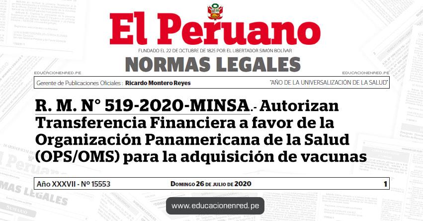 R. M. N° 519-2020-MINSA.- Autorizan Transferencia Financiera a favor de la Organización Panamericana de la Salud (OPS/OMS) para la adquisición de vacunas