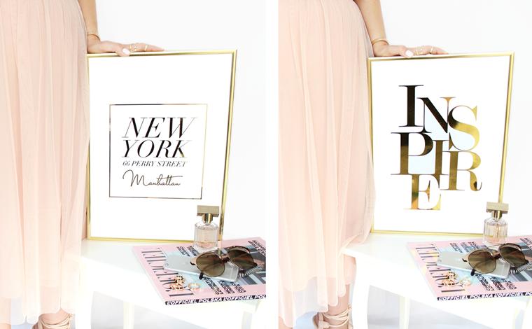 Nowości w mojej garderobie i nie tylko Plakat ze złotym motywem NY + Inspire Złote Plakaty