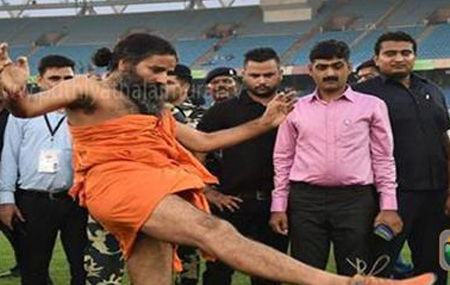 Bollywood vs Politicians football match kicked-off by Baba Ramdev