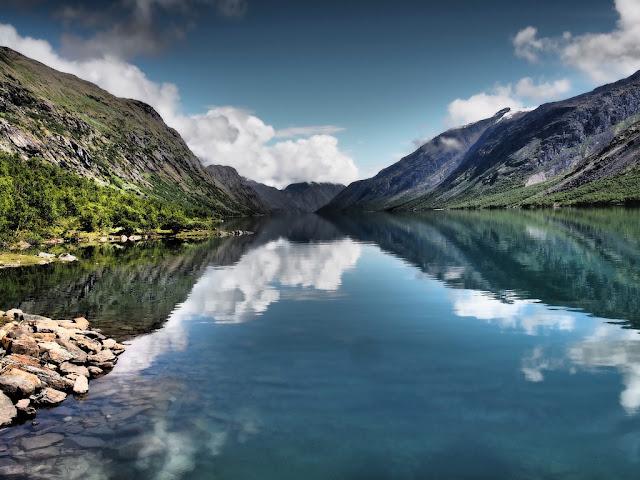 Gjende, jezero, příroda, voda, Norsko, Jotunheimen