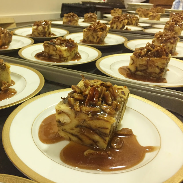 Praline Pretzel Bread Pudding served at a luncheon in New Orleans