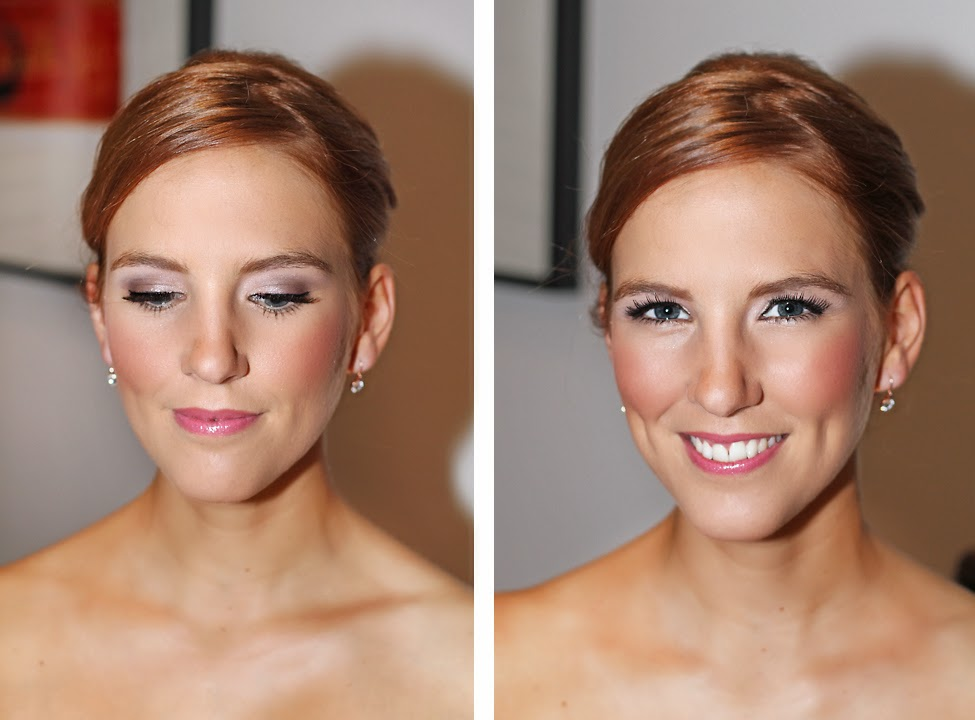 Beautiful Bridesmaid makeup- flawless skin, lilac purple eyeshadow, & pink lipstick. Makeup by Katie Dawson from Perle Jewellery & Makeup