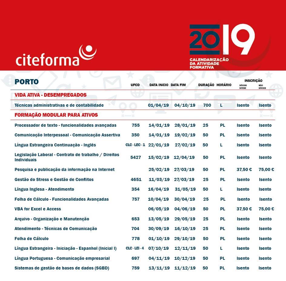 Formação financiada no Porto para 2019