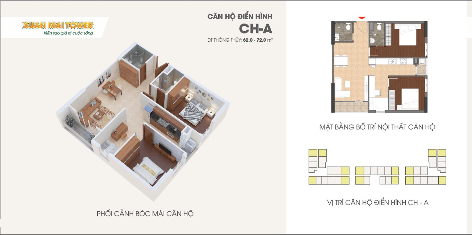 Mặt bằng căn hộ điển hình A dự án Xuân Mai Tower