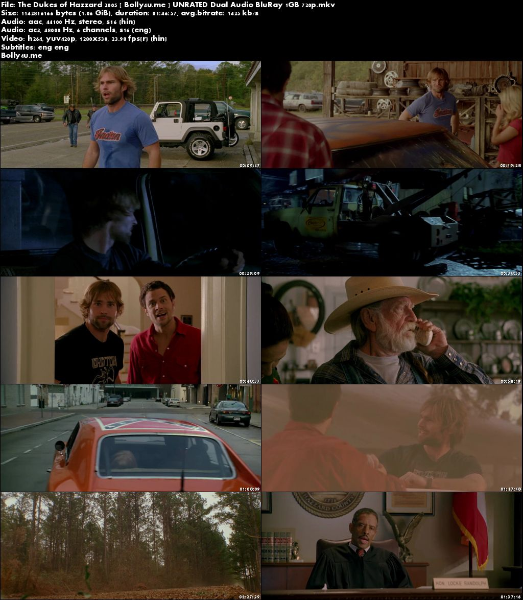 The Dukes of Hazzard 2005 BRRip 350MB UNRATED Hindi Dual Audio 480p Download