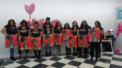 A bridal shower celebrates their paintings