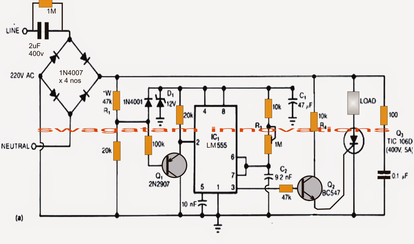 transformerless power supply circuit with surge free zero