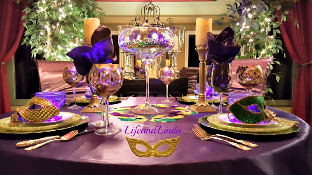 I used our extra large martini glass for the centerpiece. I filled it with lots of beads that match the theme. A golden crown sits in the middle topped of ... & Carnival Party Time Tablescape | Life and Linda