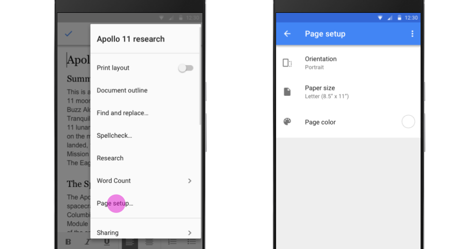 how to change paper size in google docs