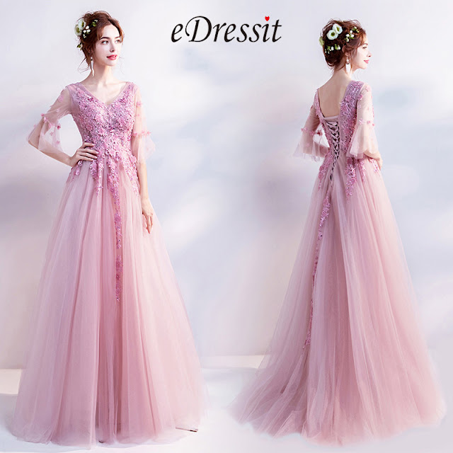 pink v cut tulle party dress