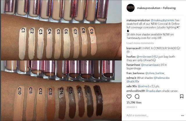Makeup Revolution Conceal Define Concealers Tarte