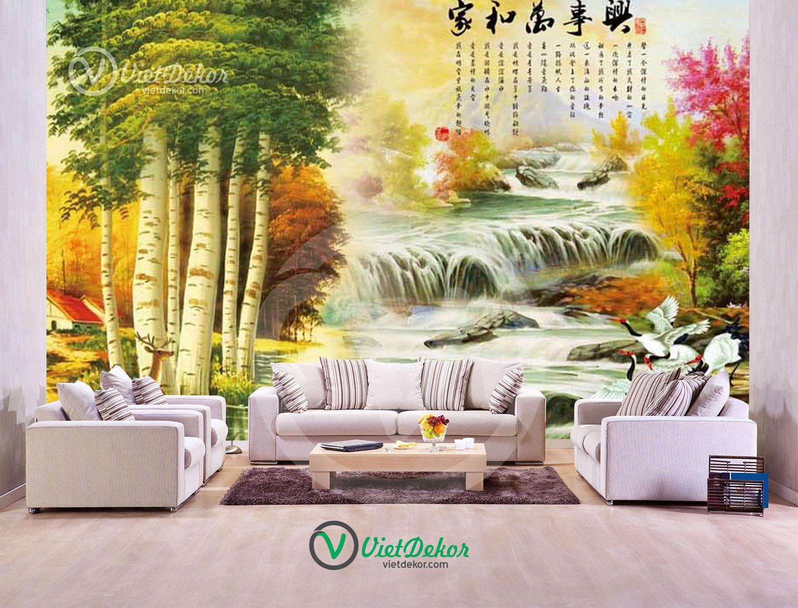 Tranh dán tường 3d thác nước cây lớn